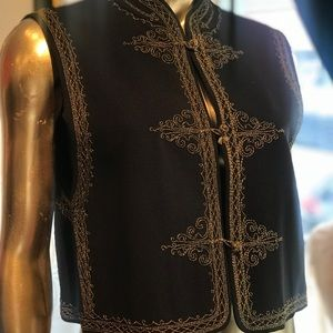 Vintage Emanuel Ungaro black embroidered vest.